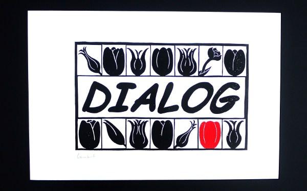 Tulpen deutsch türkisch rot schwarz Dialog Linolschnitt