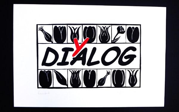 Linoldruck: Tulpenformen - Schrift: DiYalog