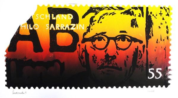 Sondermarke? Thilo Sarrazin in Farbverlauf der deutschen Nationalfarben, leicht angefetzt und beschädigt